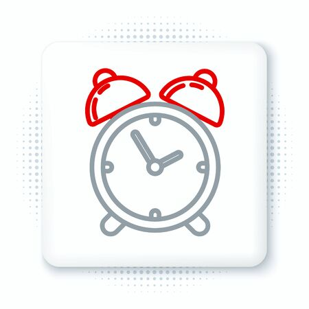 Line Alarm clock icon isolated on white background. Wake up, get up concept. Time sign. Colorful outline concept. Vector.