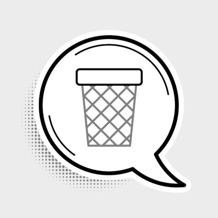 Line Trash can icon isolated on grey background. Garbage bin sign. Recycle basket icon. Office trash icon. Colorful outline concept. Vector.