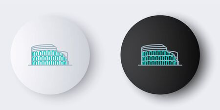 Line Coliseum in Rome, Italy icon isolated on grey background. Colosseum sign. Symbol of Ancient Rome, gladiator fights. Colorful outline concept. Vector.