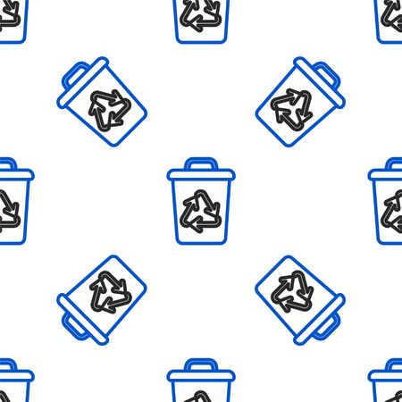 Line Recycle bin with recycle symbol icon isolated seamless pattern on white background. Trash can icon. Garbage bin sign. Recycle basket sign. Colorful outline concept. Vector.