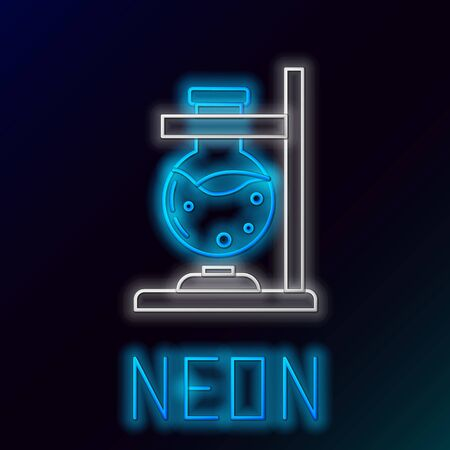 Glowing neon line Glass test tube flask on fire heater experiment icon isolated on black background. Laboratory equipment. Colorful outline concept. Vector.