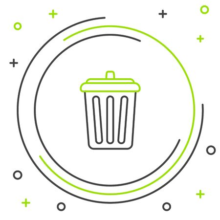 Line Trash can icon isolated on white background. Garbage bin sign. Recycle basket icon. Office trash icon. Colorful outline concept. Vector. Stockfoto - 150223958