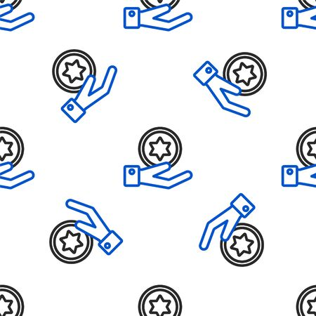 Line Jewish coin on hand icon isolated seamless pattern on white background. Currency symbol. Colorful outline concept. Vector.