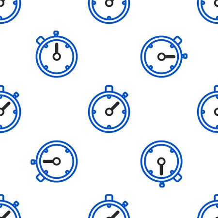 Line Stopwatch icon isolated seamless pattern on white background. Time timer sign. Chronometer sign. Colorful outline concept. Vector.