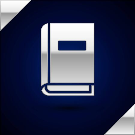 Silver User manual icon isolated on dark blue background. User guide book. Instruction sign. Read before use. Vector Illustration.