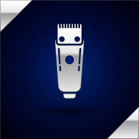 Silver Electrical hair clipper or shaver icon isolated on dark blue background. Barbershop symbol. Vector Illustration. Archivio Fotografico - 150225894