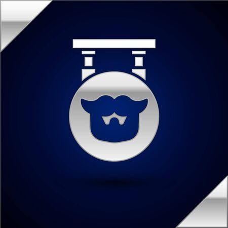 Silver Barbershop icon isolated on dark blue background. Hairdresser   signboard. Vector Illustration. Vettoriali