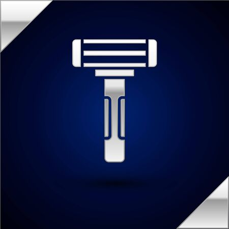 Silver Shaving razor icon isolated on dark blue background. Vector Illustration.