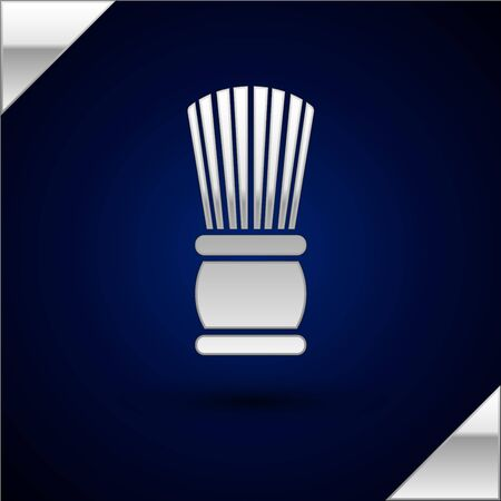 Silver Shaving brush icon isolated on dark blue background. Barbershop symbol. Vector Illustration.