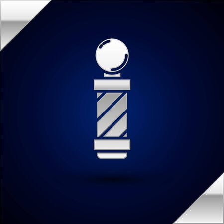 Silver Classic Barber shop pole icon isolated on dark blue background. Barbershop pole symbol. Vector Illustration.