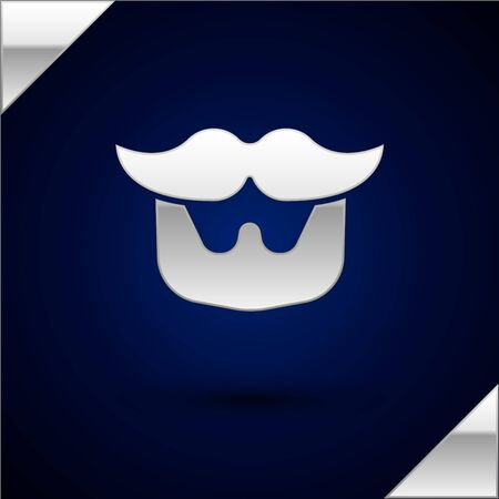 Silver Mustache and beard icon isolated on dark blue background. Barbershop symbol. Facial hair style. Vector Illustration.