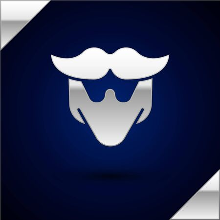 Silver Mustache and beard icon isolated on dark blue background. Barbershop symbol. Facial hair style. Vector Illustration. Archivio Fotografico - 150221788
