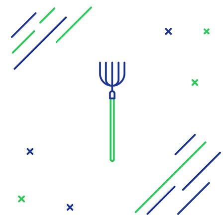 Line Garden pitchfork icon isolated on white background. Garden fork sign. Tool for horticulture, agriculture, farming. Colorful outline concept. Vector. Vettoriali