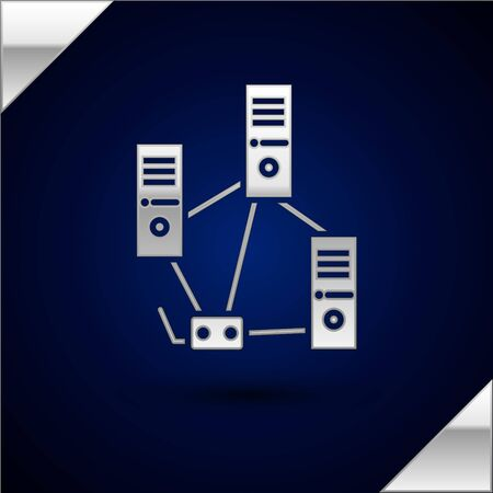 Silver Computer network icon isolated on dark blue background. Laptop network. Internet connection. Vector Illustration. Illustration