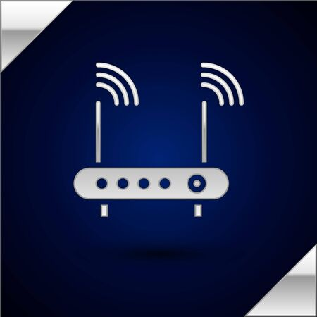Silver Router and wifi signal symbol icon isolated on dark blue background. Wireless   modem router. Computer technology internet. Vector Illustration.