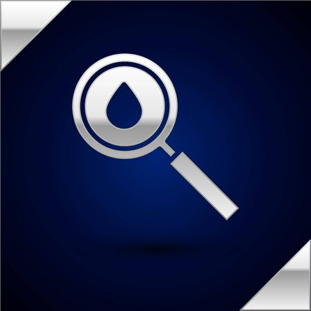 Silver Oil drop icon isolated on dark blue background. Geological exploration, geology research. Vector Illustration.  イラスト・ベクター素材