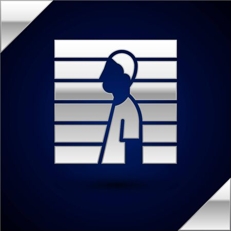 Silver Suspect criminal icon isolated on dark blue background. The criminal in prison, suspected near the board. Vector Illustration.