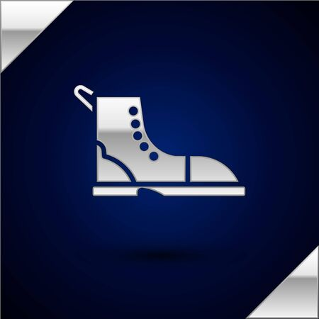 Silver Hiking boot icon isolated on dark blue background. Vector Illustration.