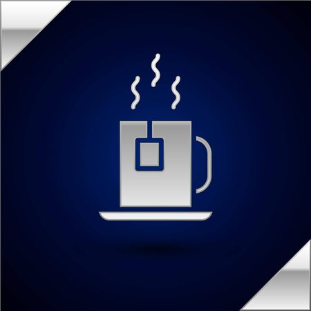 Silver Cup of tea with tea bag icon isolated on dark blue background. Vector Illustration.