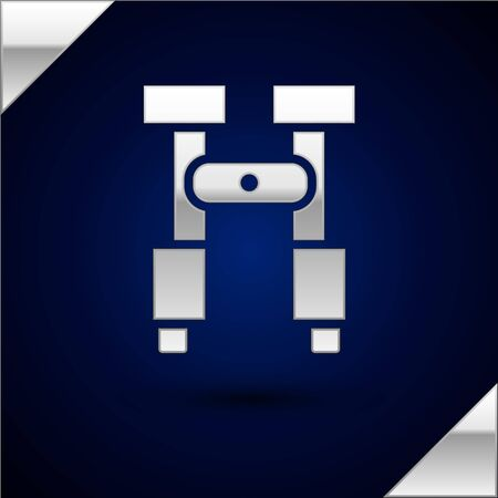 Silver Binoculars icon isolated on dark blue background. Find software sign. Spy equipment symbol. Vector Illustration.