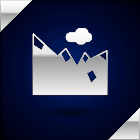 Silver Mountains icon isolated on dark blue background. Symbol of victory or success concept. Vector Illustration.