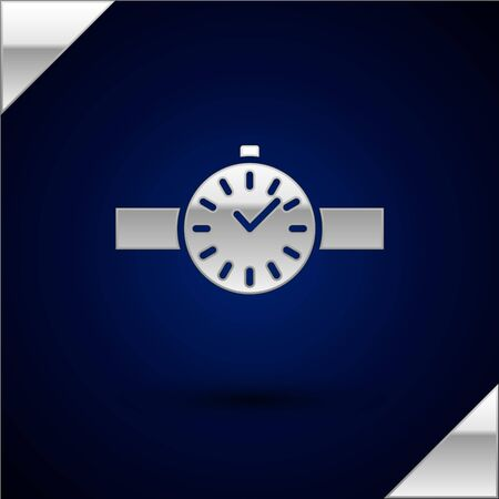 Silver Wrist watch icon isolated on dark blue background. Wristwatch icon. Vector Illustration.