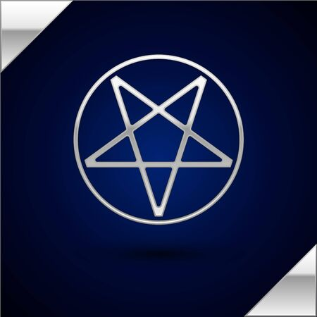 Silver Pentagram in a circle icon isolated on dark blue background. Magic occult star symbol. Vector Illustration.
