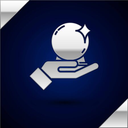 Silver Magic ball on hand icon isolated on dark blue background. Crystal ball. Vector Illustration.