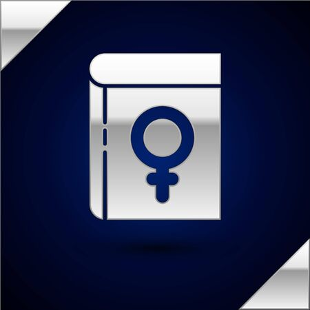 Silver Book about women icon isolated on dark blue background. 8 March. International Happy Women Day. Vector Illustration.
