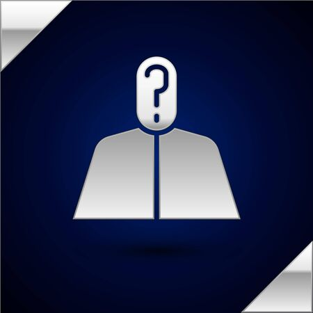 Silver Anonymous man with question mark icon isolated on dark blue background. Unknown user, incognito profile, business secrecy, obscurity. Vector Illustration.