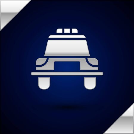 Silver Police car and police flasher icon isolated on dark blue background. Emergency flashing siren. Vector Illustration.