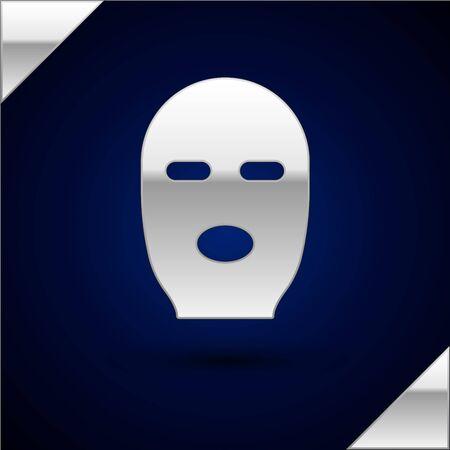 Silver Thief mask icon isolated on dark blue background. Bandit mask, criminal man. Vector Illustration. Stock Illustratie