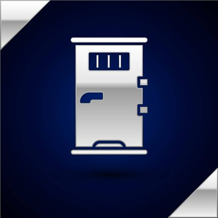 Silver Prison cell door with grill window icon isolated on dark blue background. Vector Illustration.
