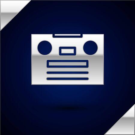 Silver Retro audio cassette tape icon isolated on dark blue background. Vector Illustration.