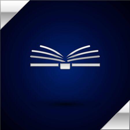 Silver Open book icon isolated on dark blue background. Vector Illustration.