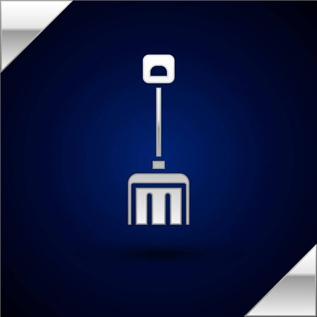 Silver Snow shovel icon isolated on dark blue background. Vector Illustration.