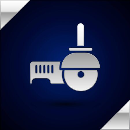 Silver Angle grinder icon isolated on dark blue background. Vector Illustration.