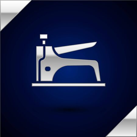 Silver Construction stapler icon isolated on dark blue background. Working tool. Vector Illustration.