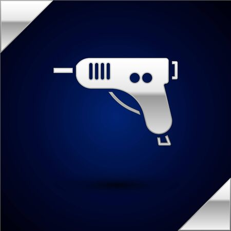 Silver Electric hot glue gun icon isolated on dark blue background. Hot pistol glue. Hot repair work appliance silicone. Vector Illustration. 向量圖像