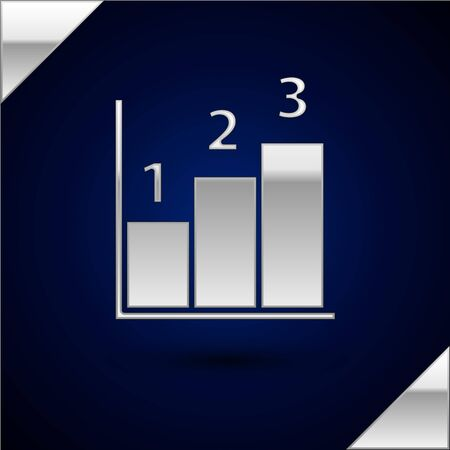 Silver Graph, schedule, chart, diagram, infographic, pie graph icon isolated on dark blue background. Vector Illustration.