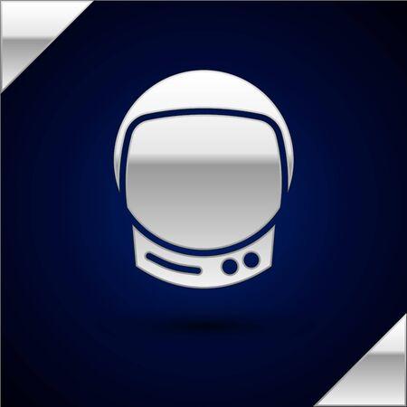Silver Astronaut helmet icon isolated on dark blue background. Vector Illustration.