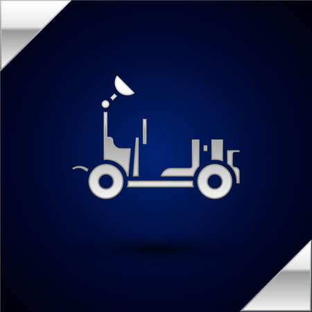 Silver Mars vehicle icon isolated on dark blue background. Moonwalker sign. Apparatus for studying planets surface. Vector Illustration. Illustration