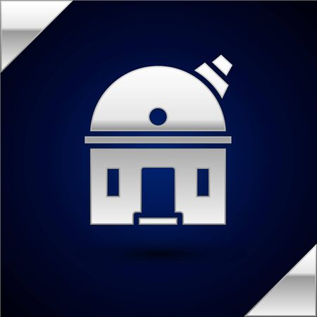Silver Astronomical observatory icon isolated on dark blue background. Observatory with a telescope. Scientific institution. Vector Illustration.