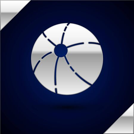 Silver Beach ball icon isolated on dark blue background. Vector Illustration.