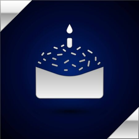 Silver Easter cake and candle icon isolated on dark blue background. Happy Easter. Vector Illustration.