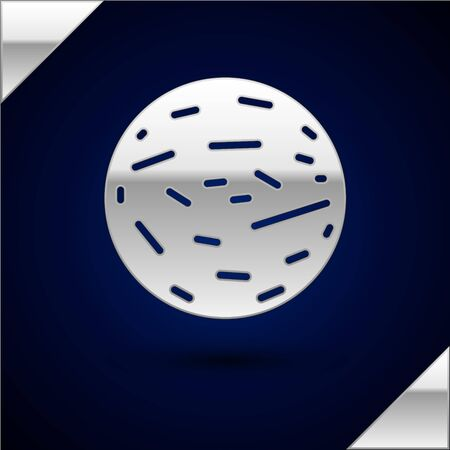 Silver Planet Venus icon isolated on dark blue background. Vector Illustration.