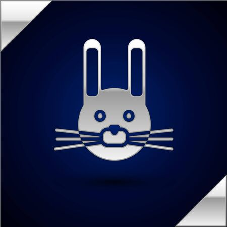 Silver Easter rabbit icon isolated on dark blue background. Easter Bunny. Vector Illustration. Vector Illustratie