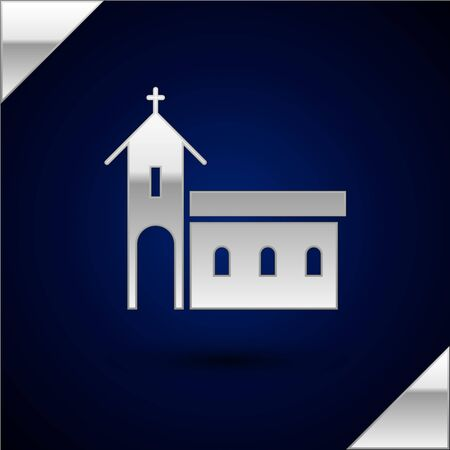 Silver Church building icon isolated on dark blue background. Christian Church. Religion of church. Vector Illustration.