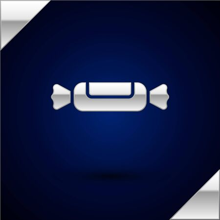 Silver Candy icon isolated on dark blue background. Vector Illustration. Ilustracja