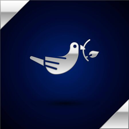 Silver Peace dove with olive branch icon isolated on dark blue background. Happy Easter. Vector Illustration.